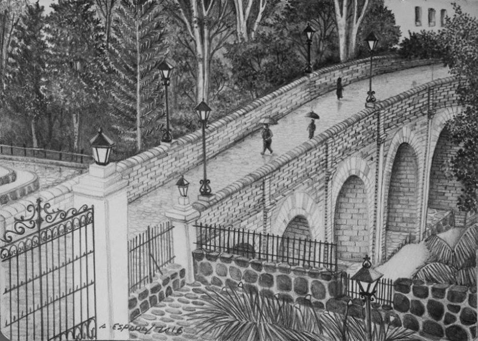"""""""Puente del Humilladero en un día lluvioso"""" de Alfonso Espada"""