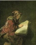 Anciana leyendo (La madre de Rembrandt), Rembrandt. (1631).