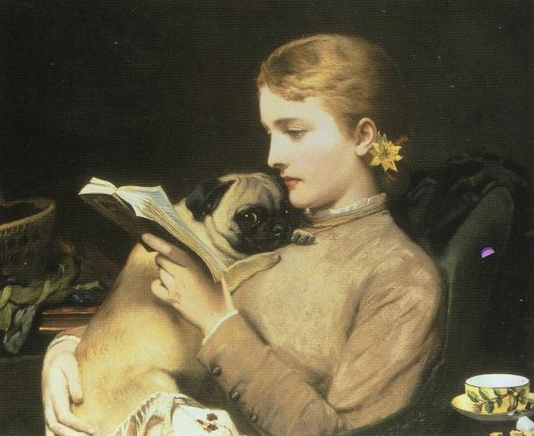 Muchacha leyendo con doguillo. Charles Burton Barber (1879).