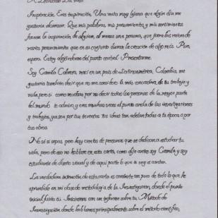 Carta de Camila Cabrera, página 1